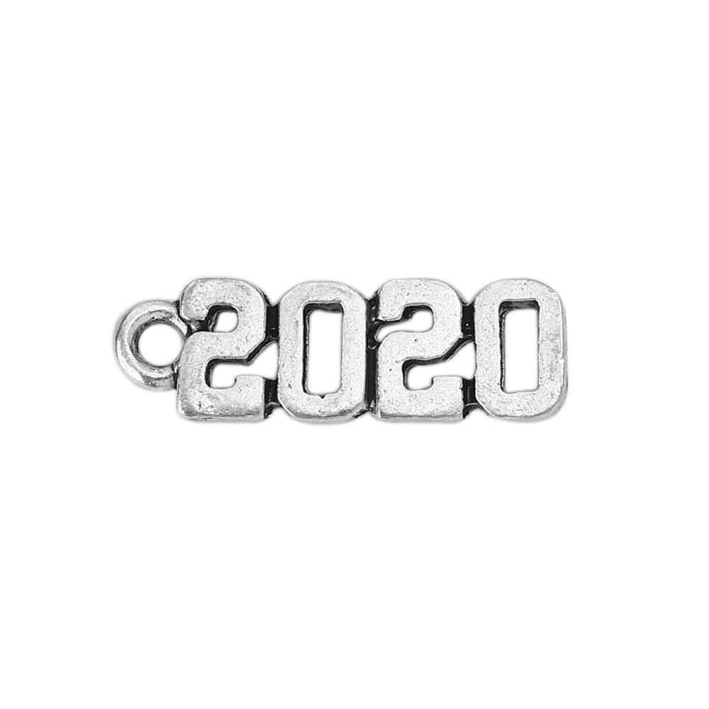 """อินเทรนด์จี้ Charms จำนวนข้อความ """"2020"""" โลหะผสมสังกะสีโบราณเครื่องประดับจี้ DIY 19 มม.X 6 MM, 5 PCs"""