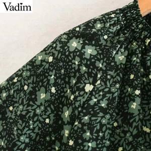 Image 3 - Vadim kadınlar chic çiçek desen mini elbise düz papyon uzun kollu kadın retro sevimli temel günlük elbiseler QD075
