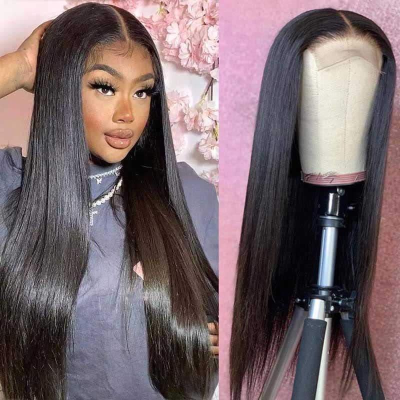 Perucas retas da parte dianteira do laço do cabelo humano pré arrancadas 4x4 fechamento em linha reta perucas do cabelo humano brasileiro remy em linha reta perucas do cabelo humano