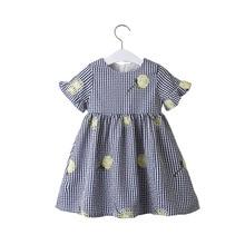 2020 New Summer Girls' Dress Korean Embroidered Plaid Bell Sleeve Party Princess Dress Children's Baby Kids Girls Clothing exaggerate bell sleeve pencil dress