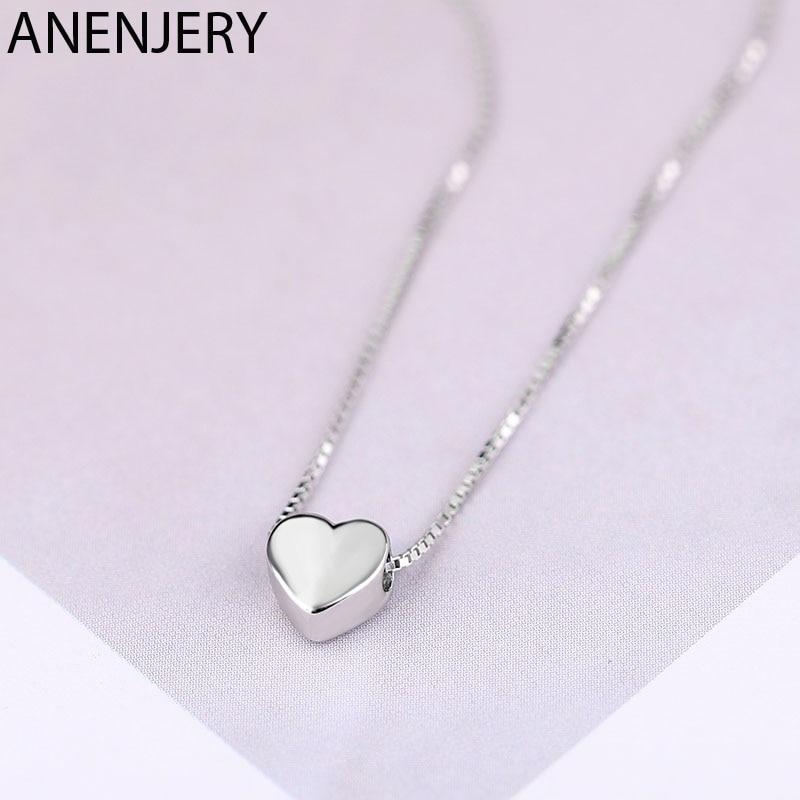 ANENJERY Einfache 925 Sterling Silber GLÜCK Perlen Halsketten Für Frauen Kurze Kette choker collares S-N554