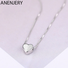 ANENJERY Fashion Minimalist Smooth Heart Shaped Pendant Necklace Silver Color Cute Charm Necklace For Women S-N591