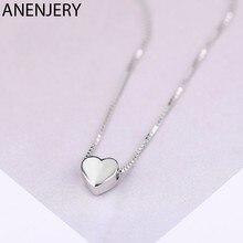 ANENJERY basit 925 ayar gümüş şanslı boncuk kolye kadınlar için kısa zincirli gerdanlık collares S-N554