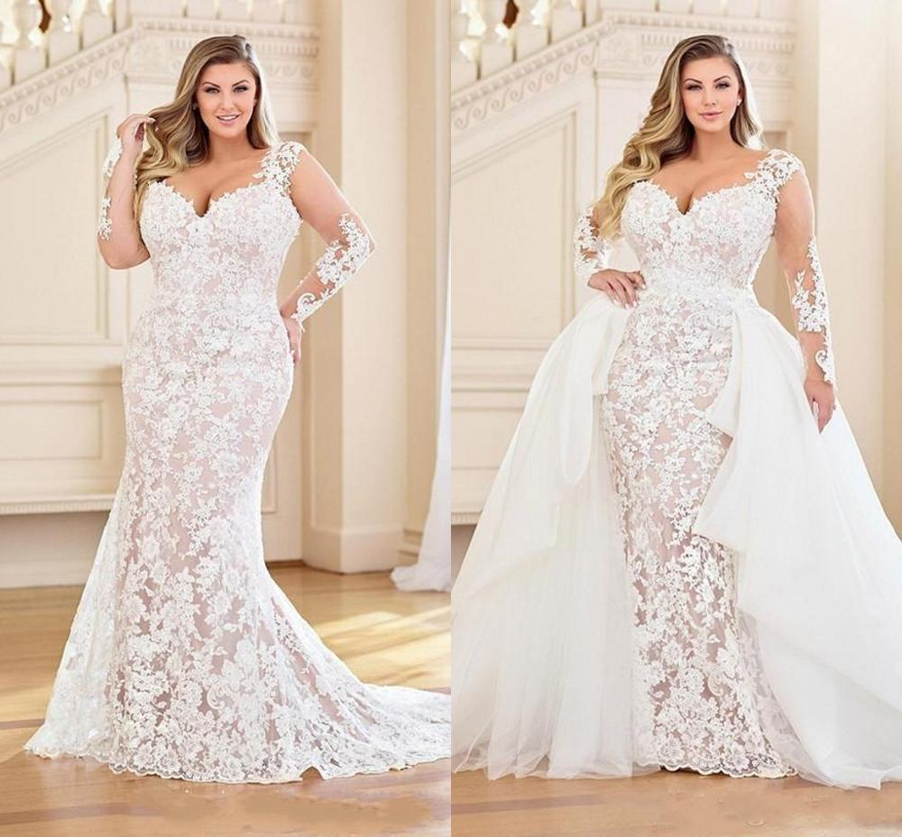 Plus Size Mermaid Wedding Dresses With Detachable Train 2020 Lace Applique Bridal With Long Sleeve Vestidos De Novia Beach