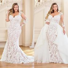 Plus Size Mermaid Wedding Dresses with Detachable Train 2020 Lace Applique Brida