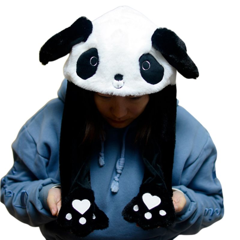 Children Adult Short Plush Cute 3D Cartoon Panda Animal Hat With Moving Ears Double Airbag Paws Warm Earflap Cap Toy Party Props