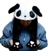 Children Adult Short Plush Cute 3D Cartoon Panda Animal Hat with Moving Ears Dou