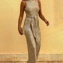 Women Glitter Round Neck Streetwear Jumpsuits Slim Fit Sleeveless Backless Sequi
