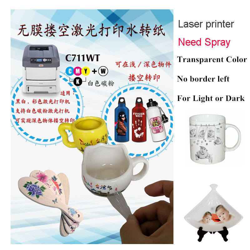 Laser Water Slide Decal Transfer Printing Paper Clear Color No Edge left Waterslide Decal Paper For Light&Dark Plates