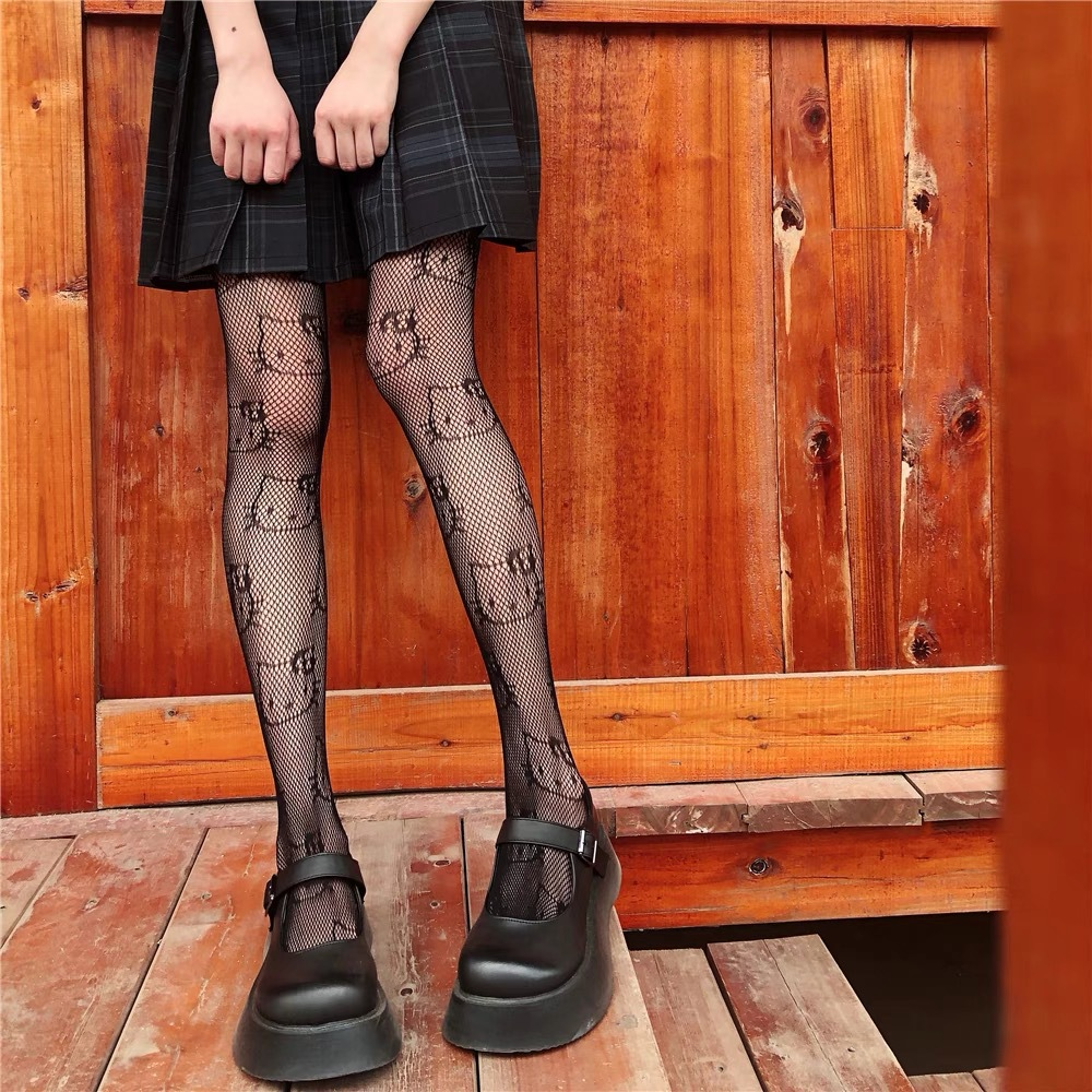 Summer Punk Hottie Black Pantyhose Kitty Cat Pattern Fishnet Stockings Ins Style Harajuku Hosiery Nylon Women's Lolita Tights