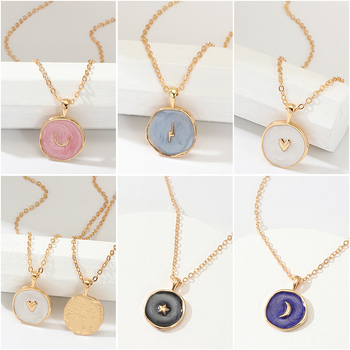 Simple Harajuku Sweet Cute Moon Star Heart Enamel Necklace Korean Fashion Round Heart Lightning Delicate Necklace for Women Fashion Jewelry