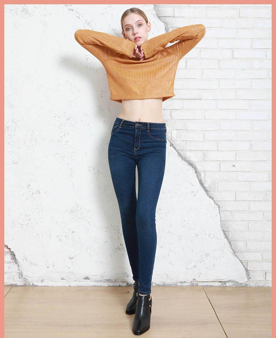Autumn Winter Women Denim Skinny Pants Super Stretch Fake Front Pocket Waist Blue Grey Black White Slim Elastic Lady Jeans 5