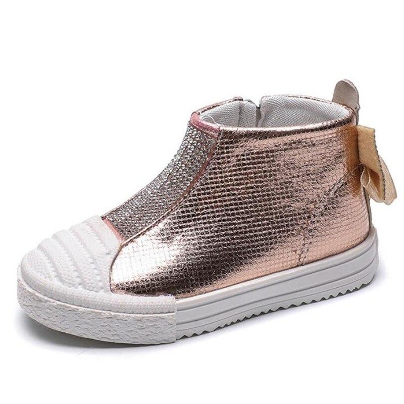 ULKNN Fashion Girls Flats Bling Rhinestones Bow Martin Shoes Female Baby Toddler Shoes Soft Bottom Zipper Children's Sports