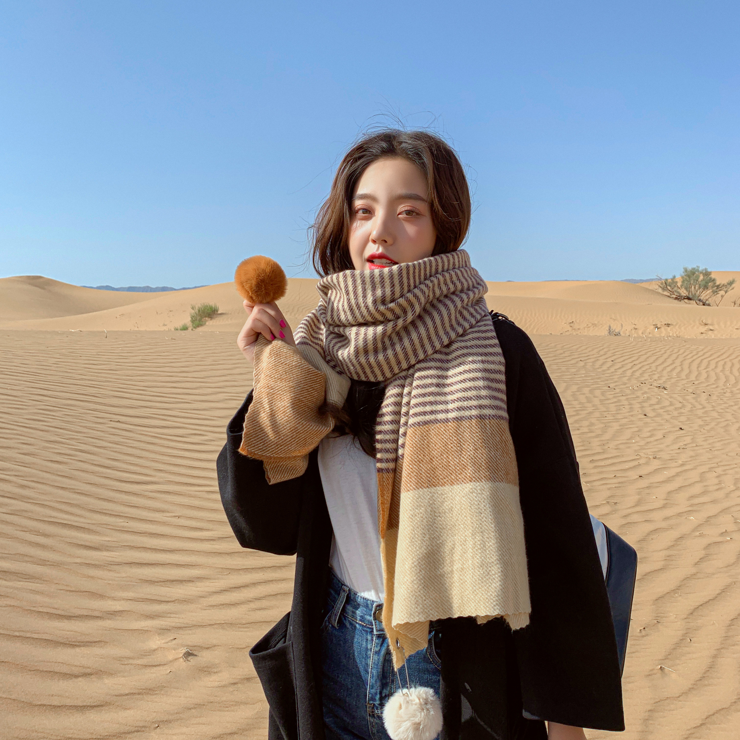 Scarf Women New Style for Autumn and Winter Mixed Color Stripe Ball Korean-Style Fashion Long Shawl Scarf women
