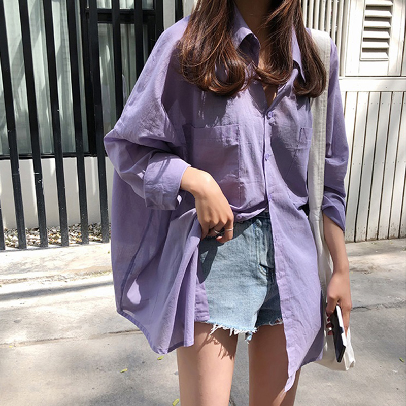 Women   Blouses     Shirts   Wild Vintage   Blouses   Sunscreen Solid Color Casual   Shirts   Loose Cotton   Shirt   Long Sleeve Lapel   Blouse