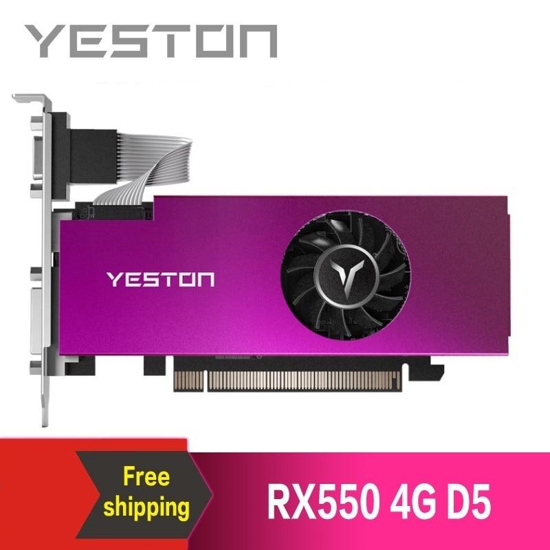 Yeston Radeon RX550 4GB GDDR5 PCI Express 3.0 DirectX12 فتحة واحدة بطاقة جرافيكس VGA + HDMI + DVI D بطاقة جرافيكس لسطح المكتب بطاقات الرسومات  - AliExpress