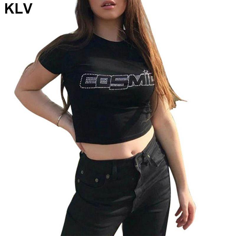 여성 여름 짧은 소매/민소매 자르기 탑 핫 드릴 라인 석 Cosmic 편지 t-셔츠 배꼽 슬림 조끼 클럽 Streetwear
