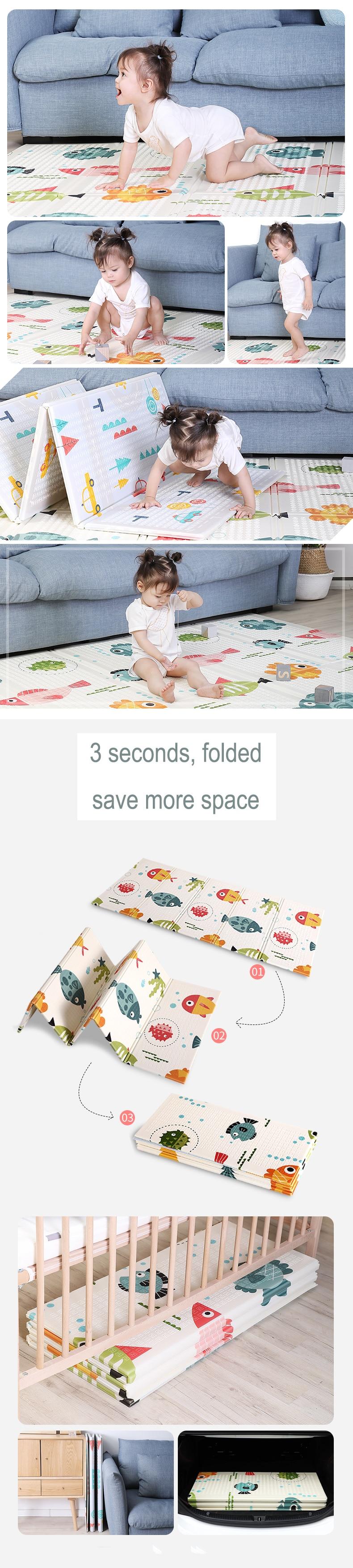 H007d6cf669fd4af882657220e32c4d73N 200*180cm  Foldable Cartoon Baby Play Mat Xpe Puzzle Children's Mat Baby Climbing Pad Kids Rug Baby Games Mats