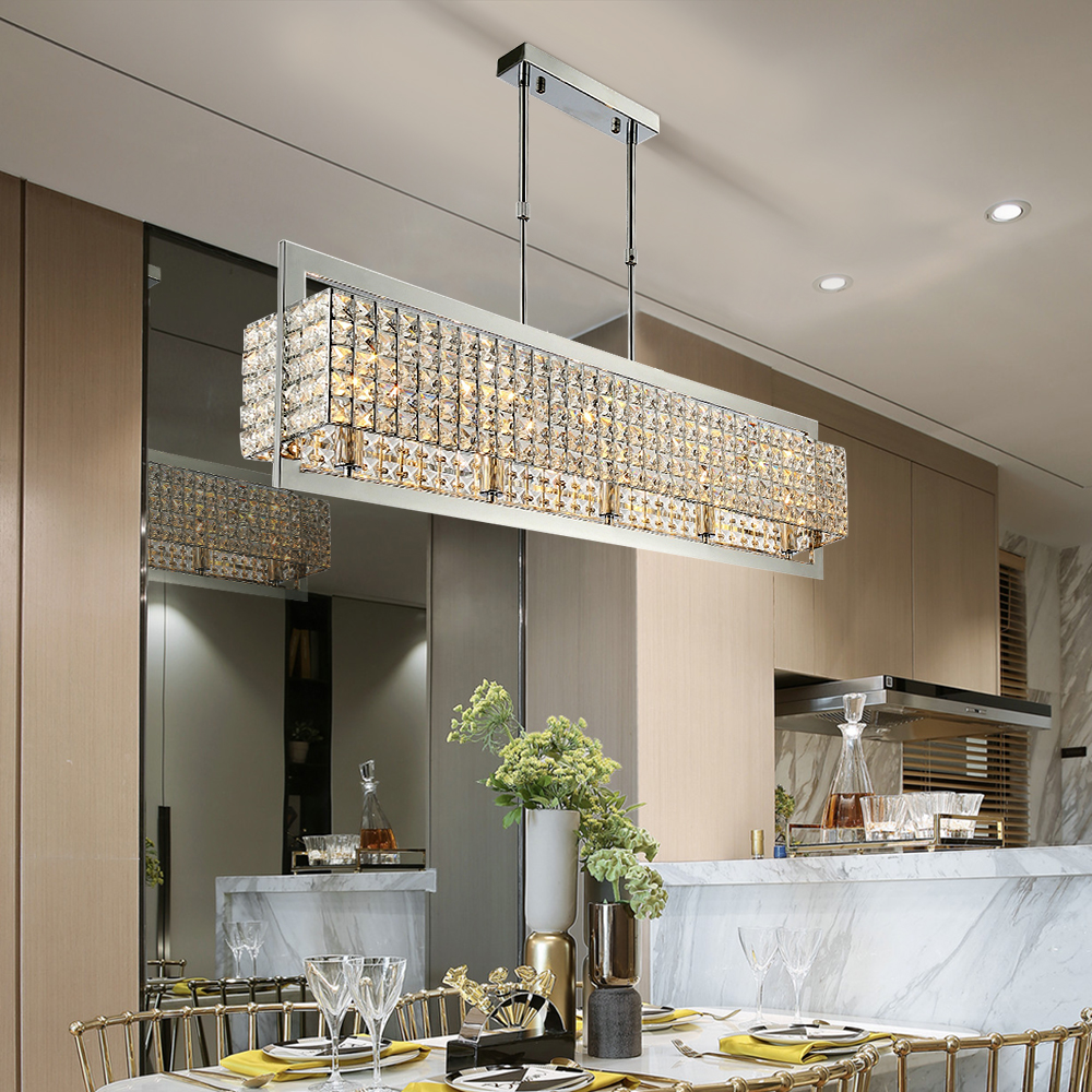 Luxury crystal chandelier lighting for dining living room chrome luster kitchen island LED chandeliers rectangle hanging lamps