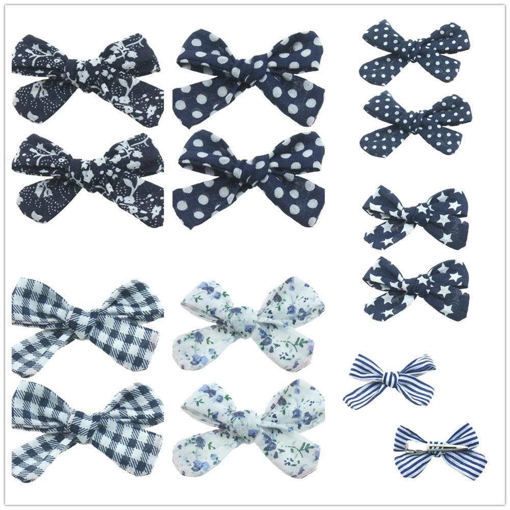 2PCS/SET Hair Clips Set Baby Cotton Bow Flower Hairpins Barrettes Hairclips Girls Headdress Kids Gift