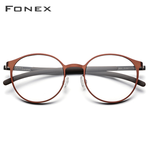 Image 2 - Fonex 合金光学処方眼鏡男子レトロラウンド近視眼鏡フレームの女性 2019 メタルフルリムネジなし眼鏡 984