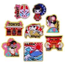 Мультяшные японские традиционные женские нашивки с лисьим лицом, морскими волнами, железные аппликации для футболки, пальто, одежда, 3D аксессуары Diy