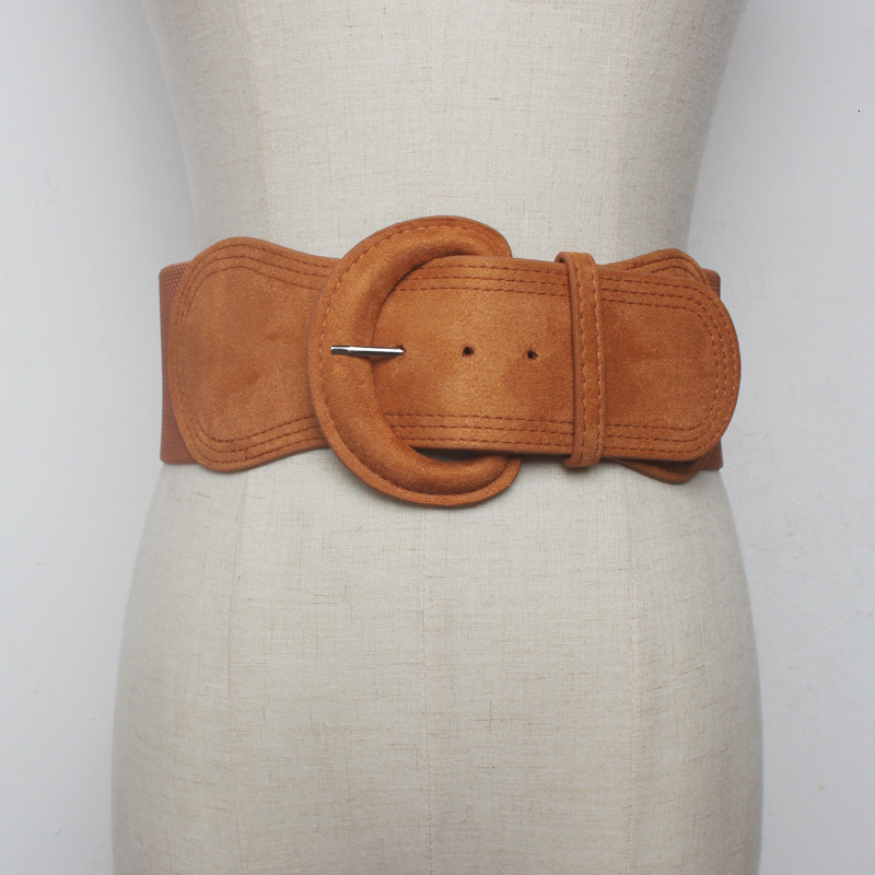 WKOUD EAM 2020 New Fashion Design Solid Corset Belt For Women Suede Leather Belt Female Casual Trendy Ladies' Wide Belt ZK107