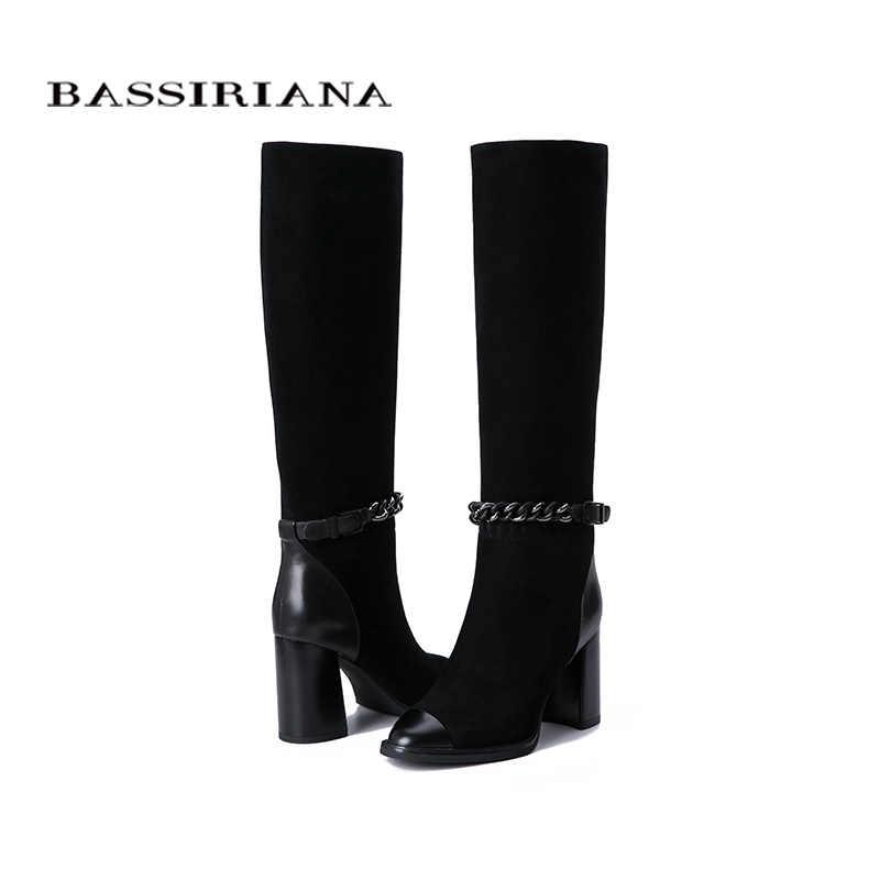BASSIRIANA 2019 ฤดูใบไม้ผลิและฤดูใบไม้ร่วงใหม่รองเท้าผู้หญิงรองเท้าหนังนิ่มหนังยางลื่นรองเท้าส้นสูงรองเท้า