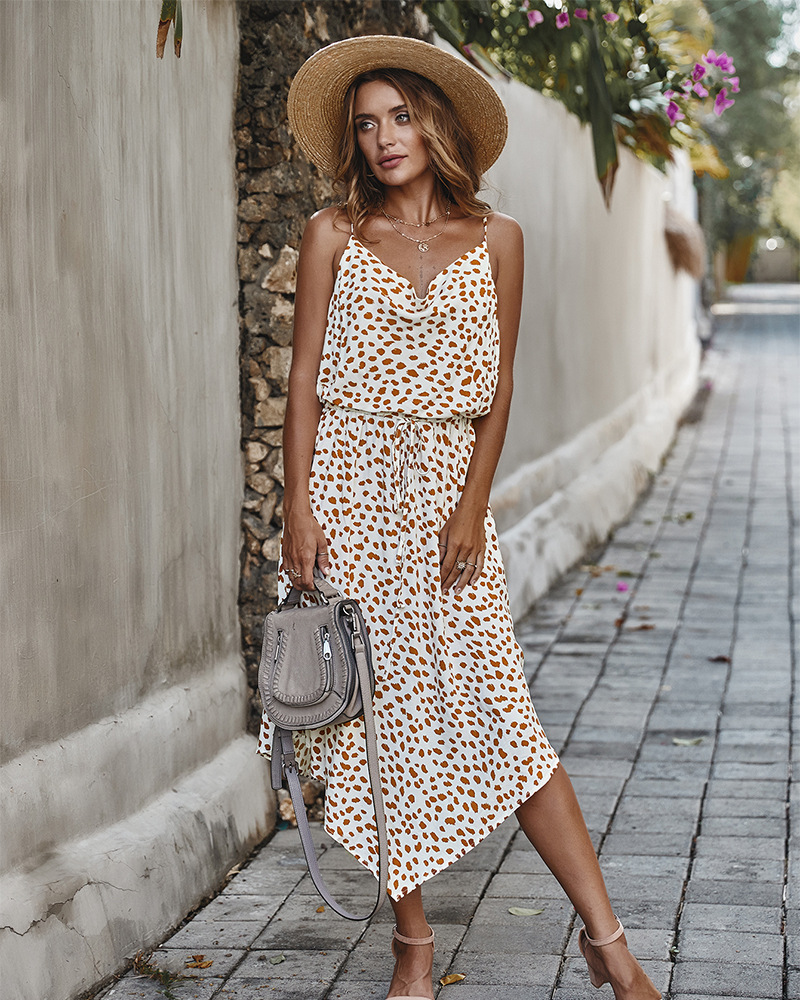 Fashion woman leopard print floral print lace dress suspenders sleeveless asymmetric rayon dress beach vacation clothing