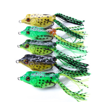 1 PCS 6cm/12g Lifelike Soft Frog Silicone Bait Top water Ray Frog for Crap Fishing Lures Double Hooks Artificial Bait image