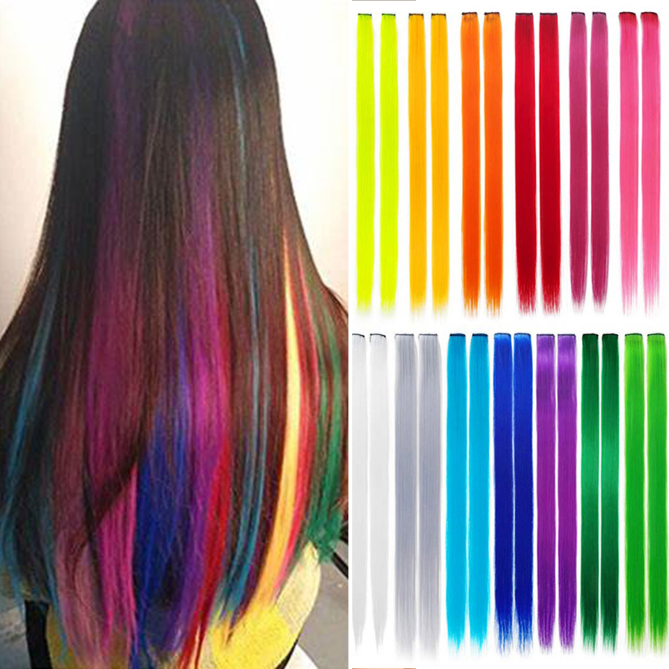 Lupu Rainbow Highlighted Hair Girl One Hair Extension Synthetic Long Straight Hair Clip Hair Clip One Clip Straight Hair