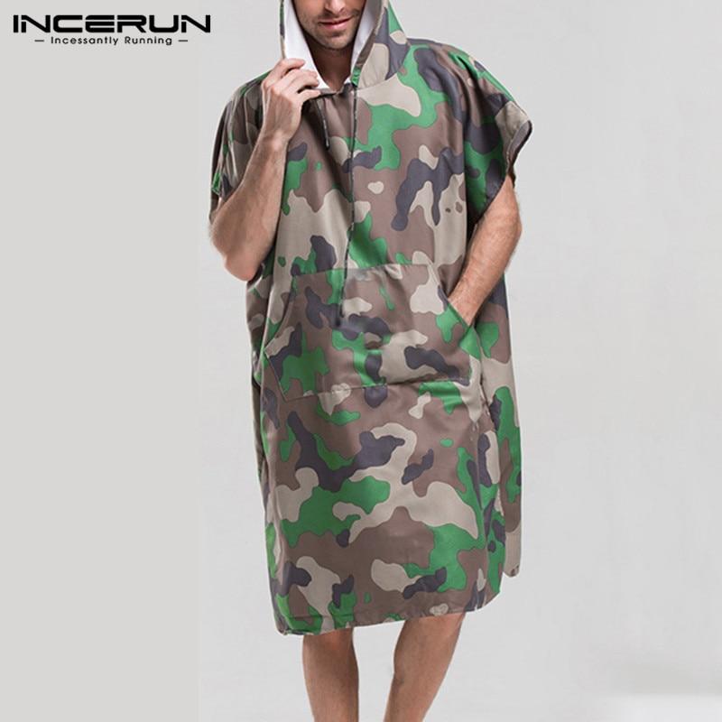 INCERUN Camouflage Print Men Bathrobes Short Sleeve Quick Dry Breathable Hooded Pockets Beachwear Robes Fashion Ladies Bathrobe