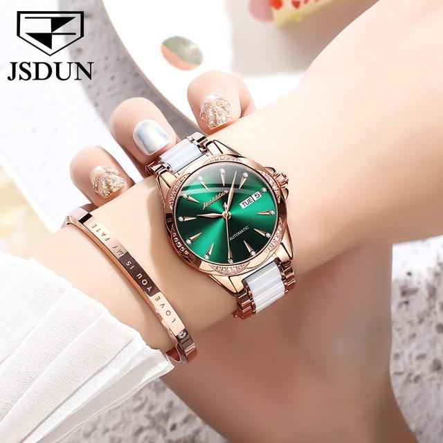 JSDUN Women Mechanical Watch Rose Gold Stainless Steel Ceramics Strap Dress Watches Fashion Luxury Brand Women's Automatic Watch 4