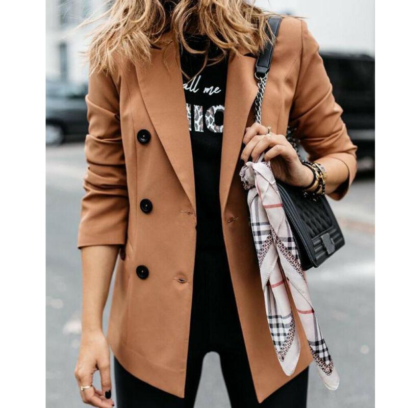 Women Slim Lounge Blazer Jacket Top Autumn Winter Ladies Casual Outwear Long Sleeve Career Formal Tunic Coat