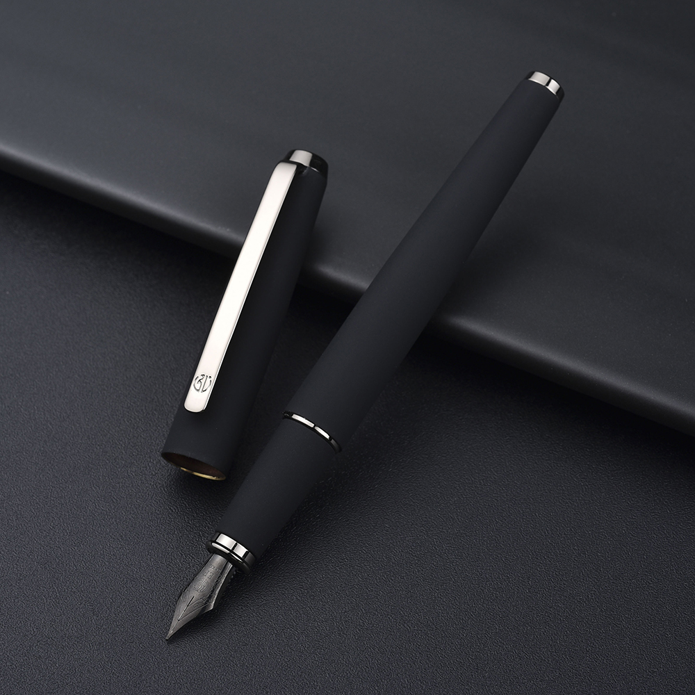 517D Hongdian Matte Black Metal Fountain Pen Titanium Black EF/F/Bent Nib Silver Clip Excellent Writing Gift For Business Office