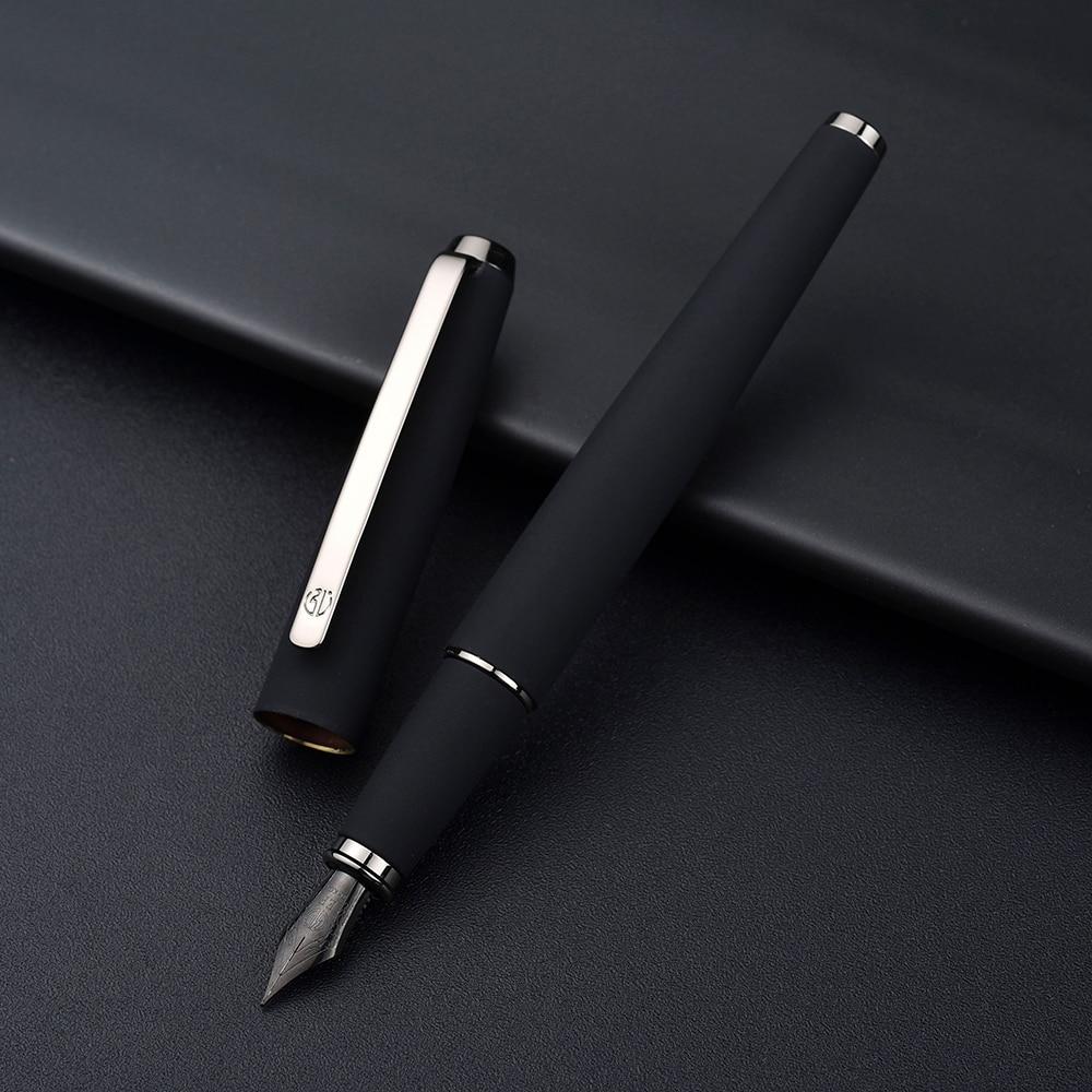 517D Hongdian Matte Black Metal Fountain Pen Titanium Black EF/F/Bent Nib Silver Clip Excellent Writing Gift For Business Office