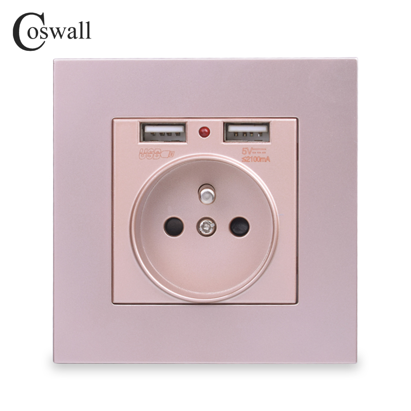 lowest price COSWALL Wall Socket Grounded Children Protective Door French Standard Outlet With 2 1A Dual USB Charging Black White PC Panel