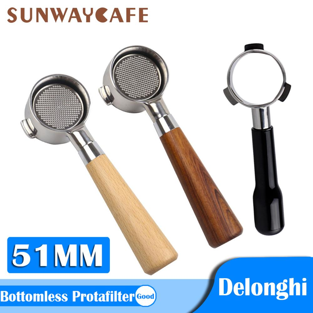 Coffee Bottomless Portafilter For Delonghi EC680/EC685 Filter 51MM Stainless Steel Replacement Filter Basket Coffee Accessories