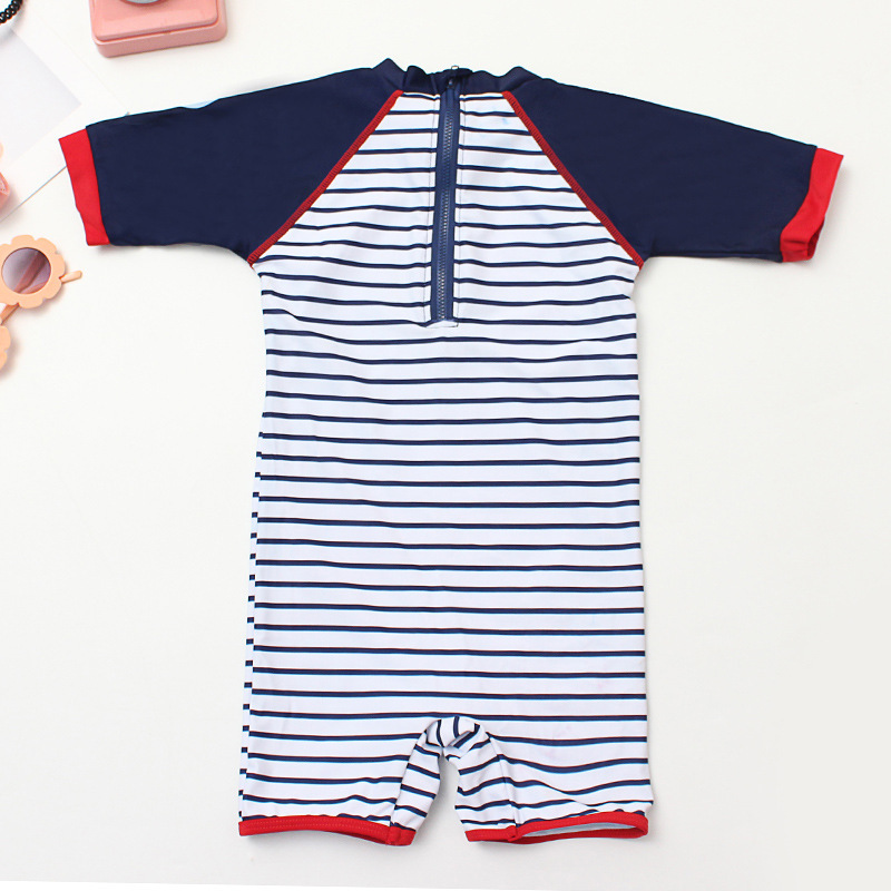 New Style KID'S Swimwear Male Baby Jumpsuit Stripes Cartoon Whale Young Children Medium-small BOY'S Tour Bathing Suit