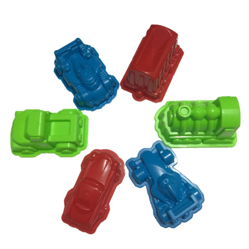 6 Pcs Car Suit Power Playing Sand Molds Space Playing Sand Car Molds Puzzle Beach Toy Kit