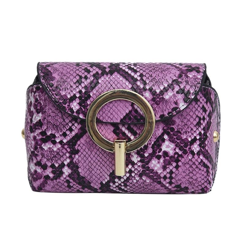 Fashion Snake Pattern Leather Belt Bags Phone Pouch Women Pu Leather Waist Bags Purple