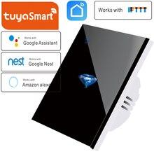 EU Standard Smart tuya 1 Weg Hause Drahtlose WiFi Wand Licht Touch Schalter Panel Wand interruptor, müssen Neutral linie, Diamant muster