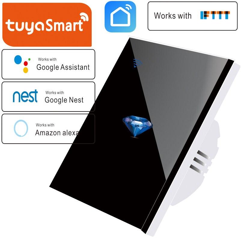 Padrão DA UE tuya 1 Caminho de Casa Inteligente Painel Interruptor de Parede Light Touch interruptor de Parede Wi-fi Sem Fio, precisa linha Neutra, teste padrão do Diamante