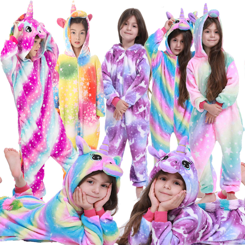 Unicorn Pajamas Pyjama Enfant Pokemon Sleeping Overalls Girls Panda Licorne Unicornio Kiguru Winter Flannel Pajamas unicorns