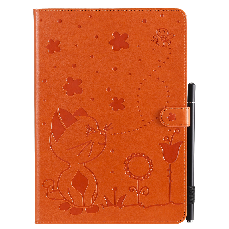 Orange Blue For Apple iPad 10 2 inch 2019 Case Cartoon Cat Embossing Leather Cover For iPad 10