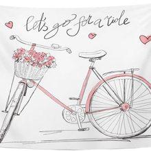 Tapiz Rosa Vintage bicicleta con cesta llena de flores chica bicicleta tapices colgante de pared para sala dormitorio