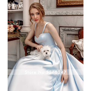 Image 5 - BECHOYER מתוקה חרוזים סאטן חתונת שמלת כחול ללא שרוולים אונליין כיסים משפט רכבת המפלגה הכלה שמלת Vestido דה Noiva AC01