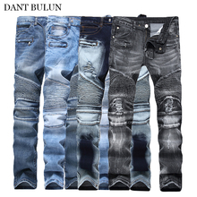 Hot Sale Skinny Biker Moto Jeans Men Ripped Jeans Pleated Designer Motorcycle Leisure Trousers Jeans Denim Pants Men's Jeans duhan motorcycle riding pants pantalones moto uglybros featherbed jeans the standard version car ride trousers motorcycle drop