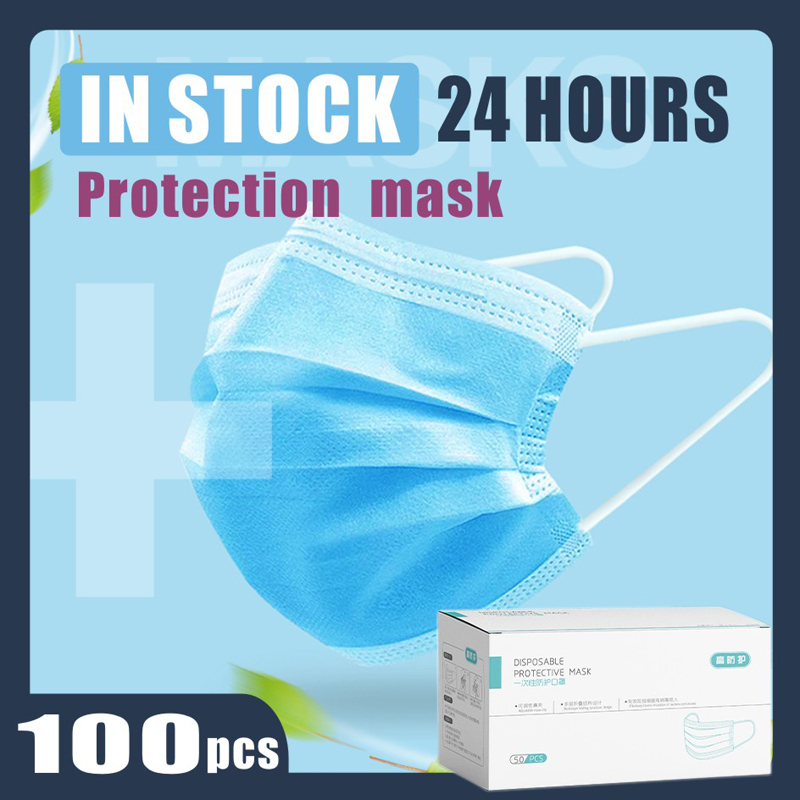 Face Mask Anti-Pollution 3 Laye Mask Dust Protection Masks Adult Disposable Elastic Ear Loop Disposable Dust Filter Safety Mask