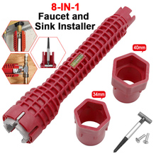 New 8 In 1 Faucet and Sink Installer Wrench Multifunctional Anti-Slip Wrench Tool For Kitchen Bathroom Double Head Wrench 1pc multifunction faucet sink installer wrench extra long wrench anti slip handle spanner installer tools